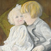 American Art - Doll and Child: Vintage Original Art