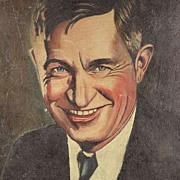 American Art - Will Rogers: Oil on Canvas Portrait circa 1930
