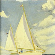 American Art � Sailing: Vintage oil on canvas board