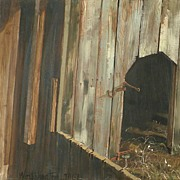 American Art - The Barn Door: Vintage Original Oil Painting