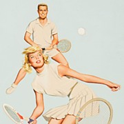 American Art � Playing Doubles: Vintage Illustration Original Art
