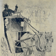 Central Park Carriage  Vintage Signed Etching by Lester George Hornby