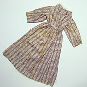 Antique Mauve Cotton Calico Two Piece Doll Day Dress All Hand Stitched 19thC