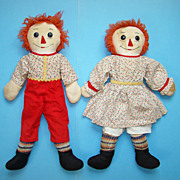 C1940 Hand Made Raggedy Ann Andy Doll Pair in Red Yellow Calico 21 Inch