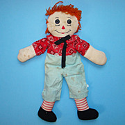 C1950-60 Hand Made Raggedy Andy Doll Orange Hair 21 Inch