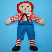 C1950-60 Hand Made Raggedy Andy Doll Brown Features Red Nose 15 inch