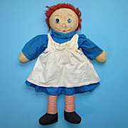 C1940 Hand Made Raggedy Ann Doll in Blue Cotton Dress 19 Inch