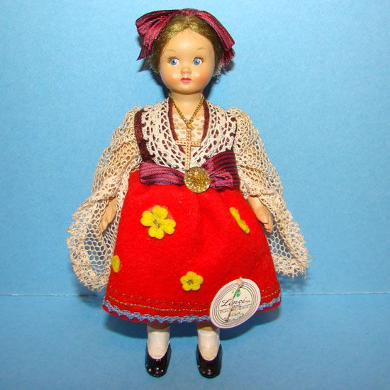 Lenci Cloth Costume Doll Sicilia Italy 6in 1960-70 Hard Plastic with Tag