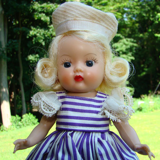 Muffie Blonde Doll Strung Purple Stripe Dress MIB 1954