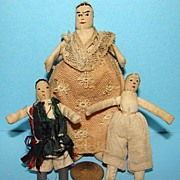 Cloth Pocket Doll Family of 3 C1870-80 Miniature Child