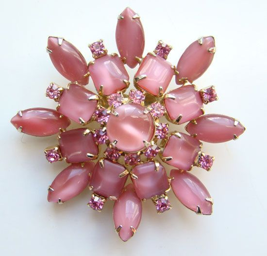 Vintage Petal Pink Pearly Art Glass Rhinestone Brooch Unsigned