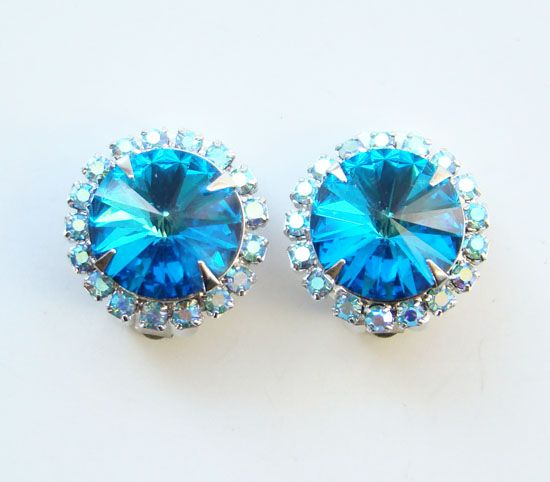Vintage Blue Rivoli Aurora Borealis Rhinestone Clip Earrings Pat Pend Gorgeous