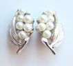 Vintage 1950s Crown Trifari Silvertone Simulated Pearl Floral Clip Earrings