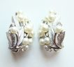 Vintage 1950s Crown Trifari Silvertone Faux Pearl Floral Earrings Mint