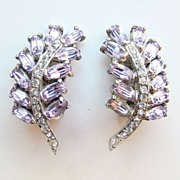 Vintage Hollycraft Rhinestone Stylized Leaf Earrings Signed