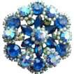 Vintage Juliana DeLizza + Elster Bermuda Blue Rhinestone Brooch Book Piece