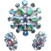 Juliana DeLizza & Elster Brooch Earrings Rhinestone AB Heliotrope Book Piece