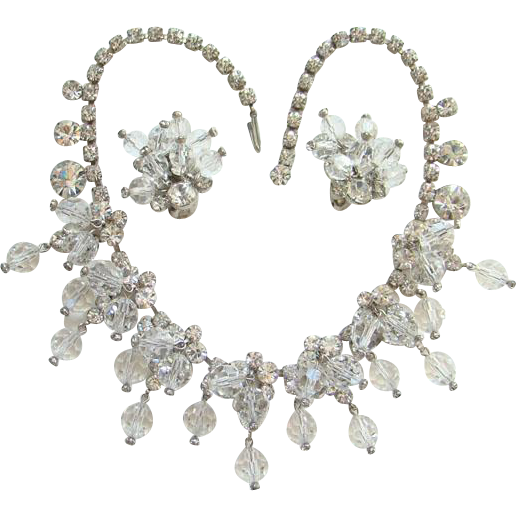 Juliana DeLizza & Elster Clear Rhinestone Crystal Bead Cascade Necklace Book
