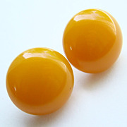 Vintage Butterscotch Bakelite Screw Back Button Earrings Art Deco C1930-40