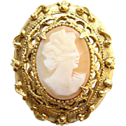 Vintage Retro Florenza Goldtone Shell Cameo Brooch Signed