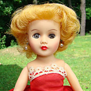 1958 Miss Nancy Ann Vinyl Fashion Doll Blonde Red Strapless Dress Box 322