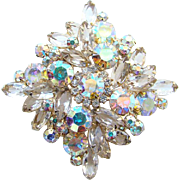 Juliana DeLizza & Elster Aurora Borealis Clear Rhinestone Brooch Large