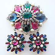 Vintage Schreiner Jewel Tone Rhinestone Brooch Earrings Set Japanned Unsigned