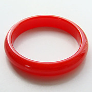 Vintage Luscious Cherry Red Lucite Plastic Bangle Bracelet