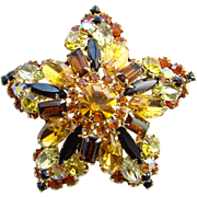 Juliana DeLizza and Elster Rhinestone Brooch Topaz Layered Baguettes Book Piece