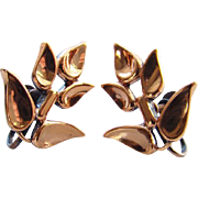 Vintage Renoir Copper Stylized Leaf Screw Back Earrings Signed