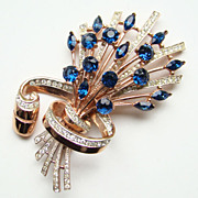 1944 Coro-Craft Vermeil Sterling Brooch Blue Rhinestone Alfred Katz 137781 Book Piece