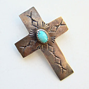 Thomas Tso Navajo Turquoise Pin Brooch Sterling Silver Shape of Cross Signed TT