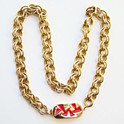 Vintage 1980 Givenchy Geometric Necklace Red Enamel Gold Tone Designer Signed