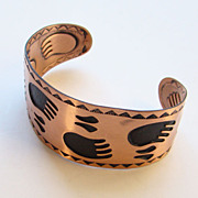 C1960 Bell Trading Co Cuff Bracelet Solid Copper Bear Paw Tracks Signed