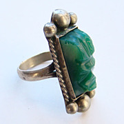 Vintage Southwestern Silver Ring Carved Green Stone Marked Silver Size 6