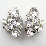 Vintage Kramer Clear Ice Rhinestone Clip Earrings Signed
