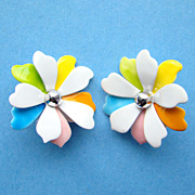 Vintage Sarah Coventry Enamel Clip Earrings Pastel Petals 1967