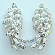Vintage Clear Rhinestone Climber Clip Earrings Rhodium Plated Tiered