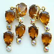 Vintage Designer Selro Earrings Amber Cabochon Front Back Signed