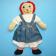C1940 Hand Made Raggedy Ann Doll in Blue Pinafore White Dress 19 inches
