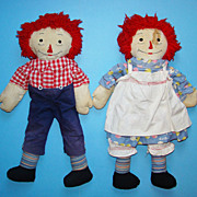 C1940 Hand Made Raggedy Ann Andy Doll Pair Fabulous Big Hands 20 inch