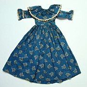 Antique C1870 Blue Calico Doll Dress for Primitive Cloth Rag Doll All Handstitched