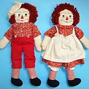 C1940 Hand Made Raggedy Ann Andy Doll Pair in Red Calico Yarn Hair