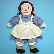 C1940 Hand Made Raggedy Ann Doll in Blue Cotton Dress Red Hair