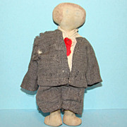 19thC Antique Miniature Child Church Rag Cloth Doll Boy in Suit