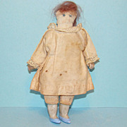 19thC Antique Miniature Child Church Rag Cloth Doll in Pink Dress