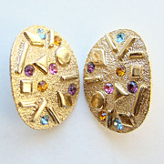 1970 Sarah Coventry Clip Earrings Sara Zade Gold Tone Confetti Rhinestone