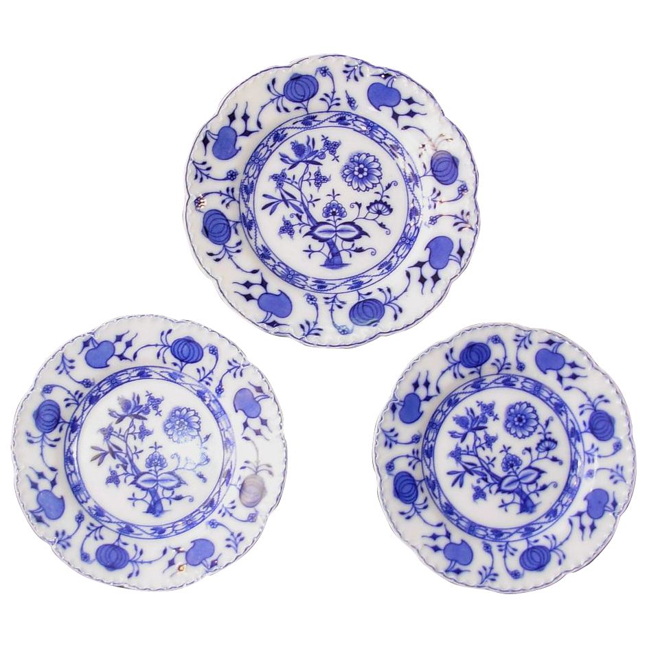 Antique Blue Onion English Johnson Bros 3 Flow Blue Plates