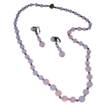 Vintage Opalescent Glass Beaded Necklace and Earring Set