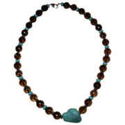 SALE Vintage Beaded Crystal and Turquoise Choker Necklace